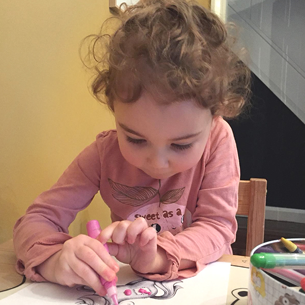 The Beautiful River Bee, mini creative director, and the Rags and Rainbows very own little muse, here we see her working on new artworks...