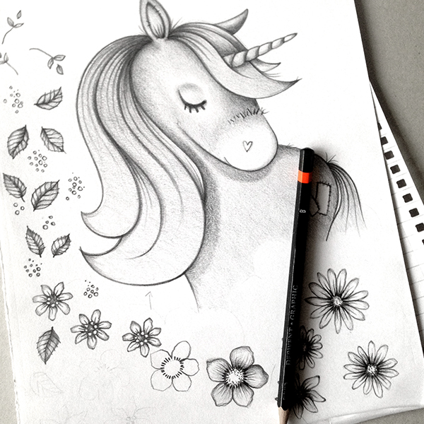 Another busy day sketching River the Unicorn for the upcoming card range...