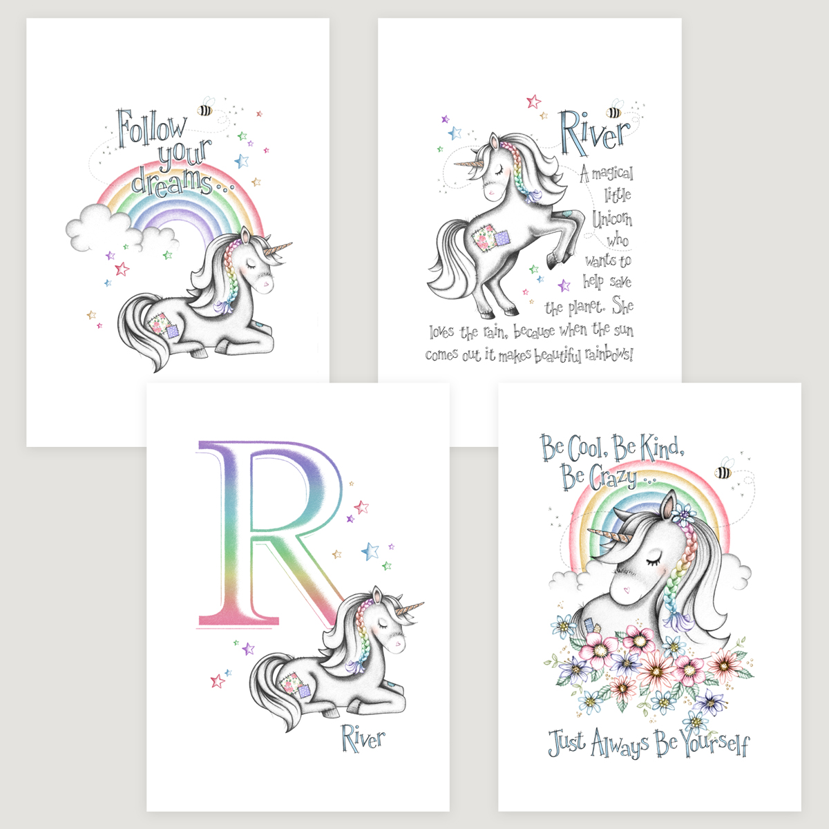 Little Unicorn 4 Set Rainbow