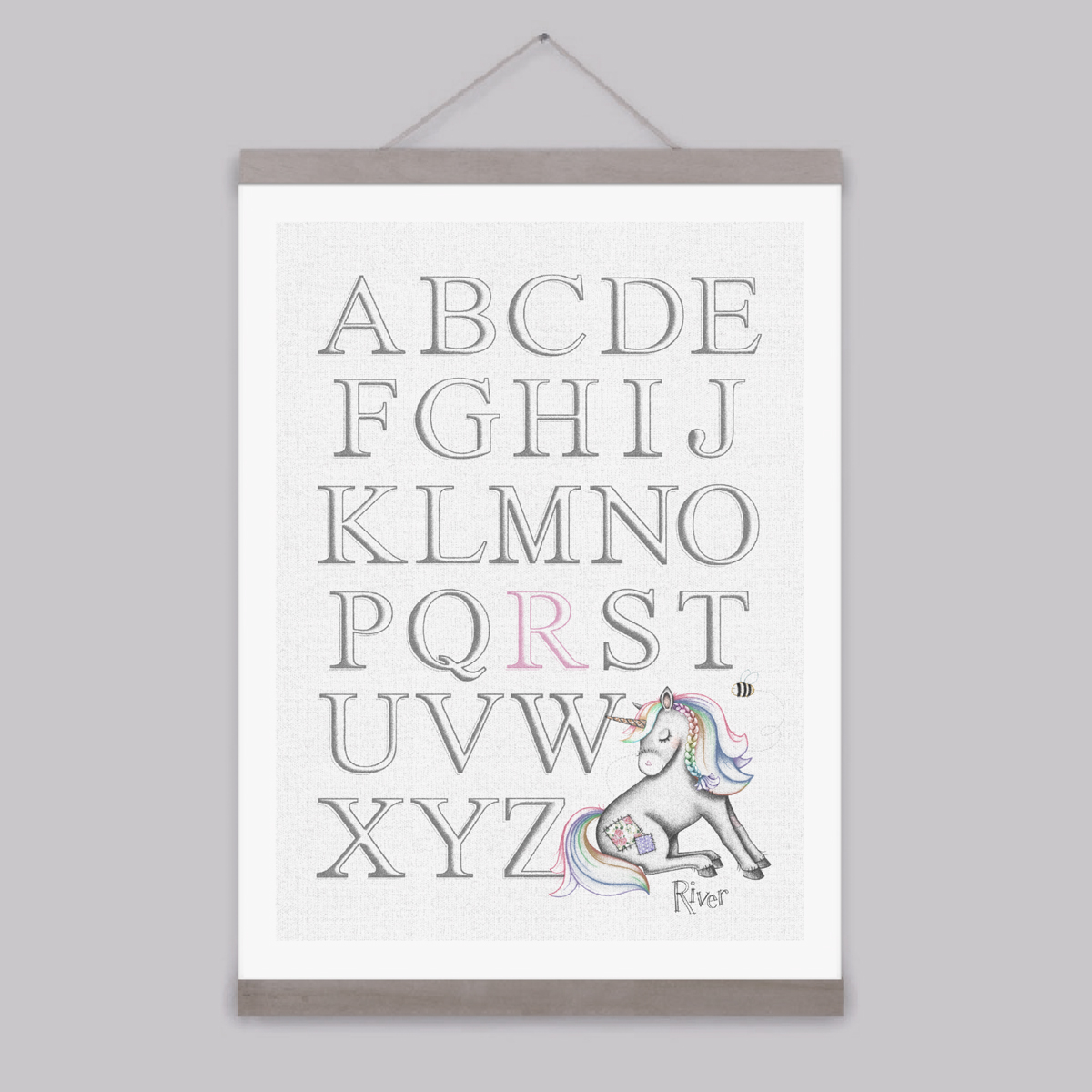 Little Unicorn – Personalised Alphabet Print