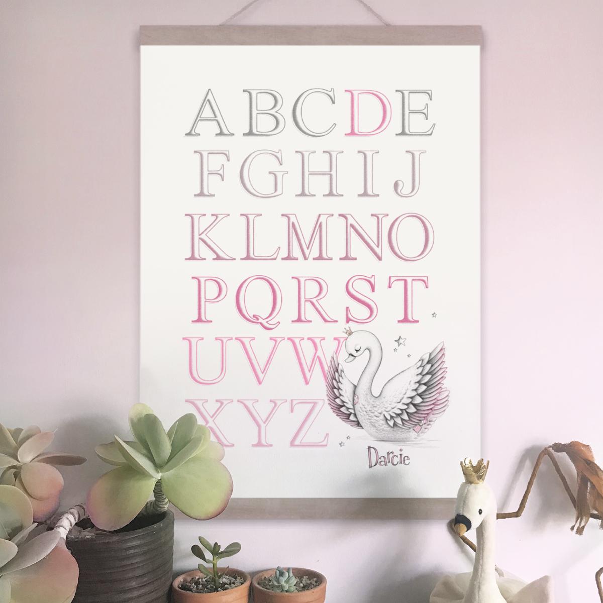 Swan Alphabet Pink