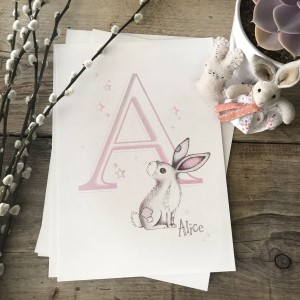 Bunny with Initial Pink Ombre Print