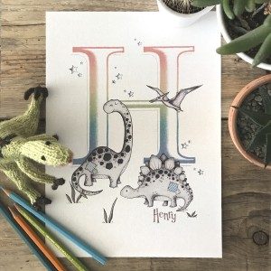 Dinosaurs Bright Ombre Print