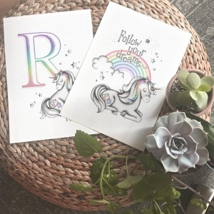 Unicorn Rainbow Print Set