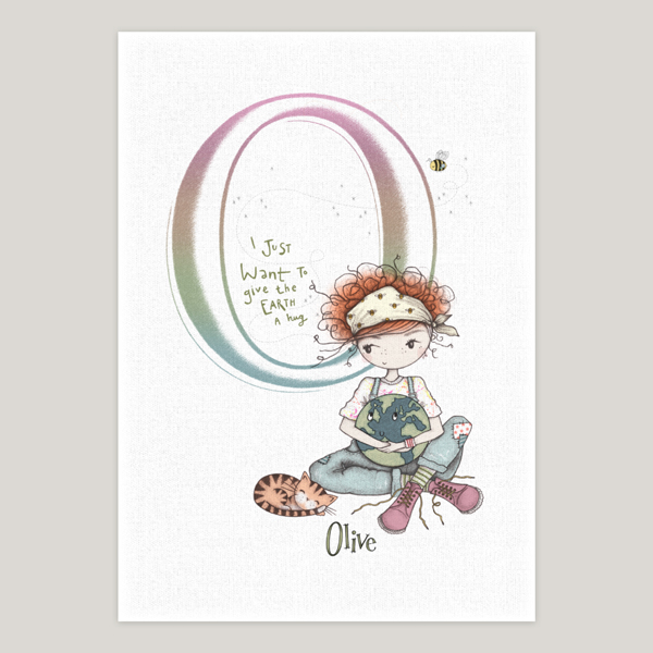 Little Earth Girl - Initial Personalised Art Print