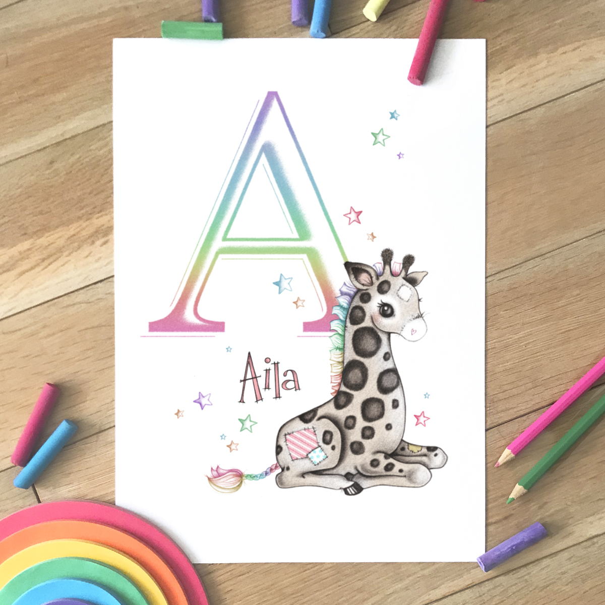 Giraffe Sleepy Initial Rainbow