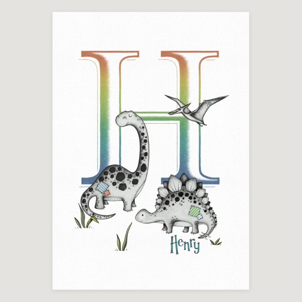 Little Dinosaur Multi Initial Colour