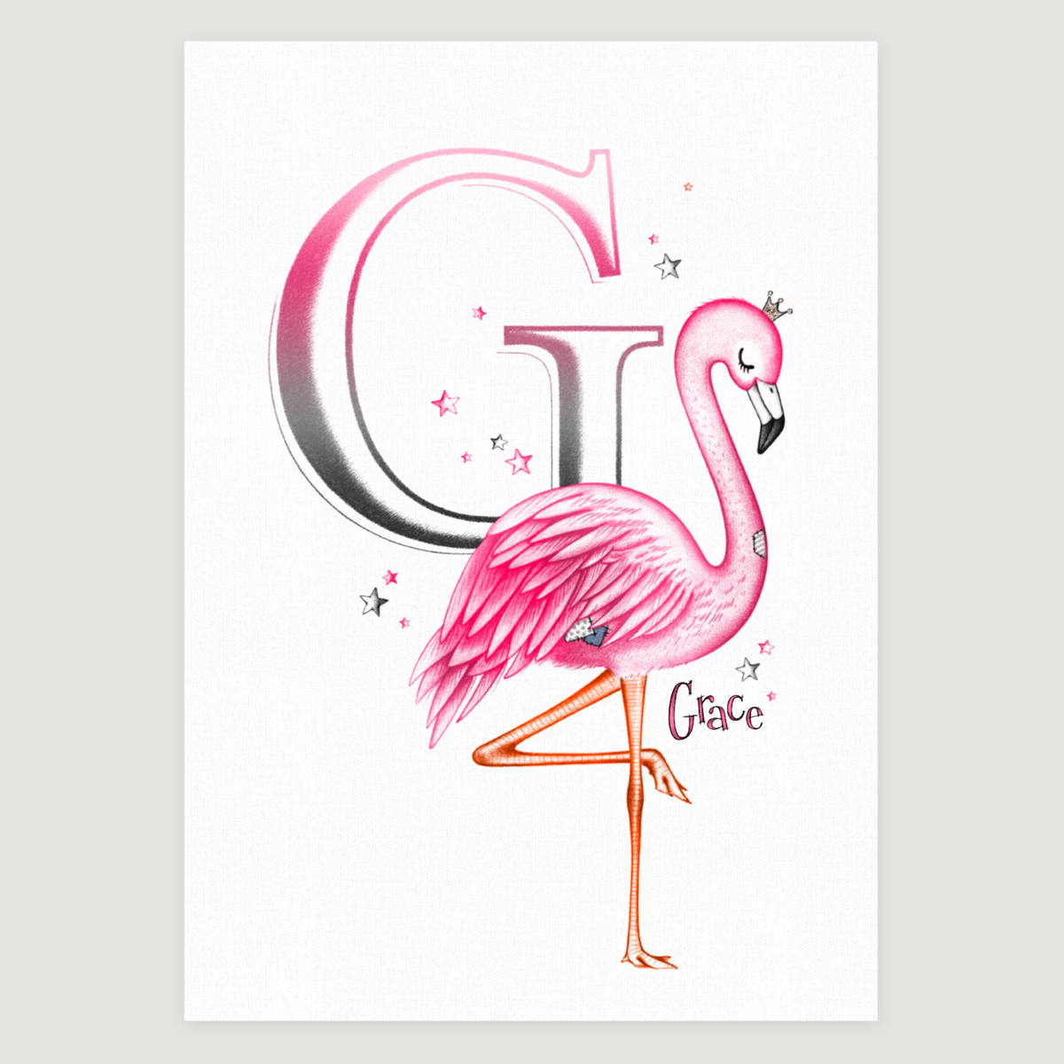 Little Flamingo Initial Pink
