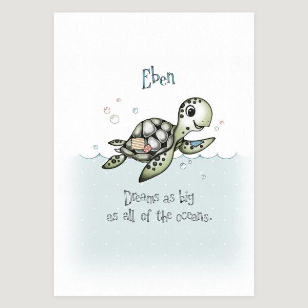 Little Sea Turtle Slogan Colour