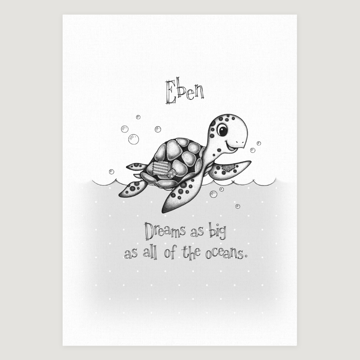 Little Sea Turtle Slogan Mono
