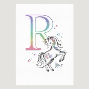 Little Unicorn Rearing Initial Rainbow