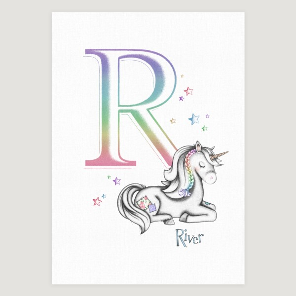 Little Unicorn Sleepy Initial Rainbow