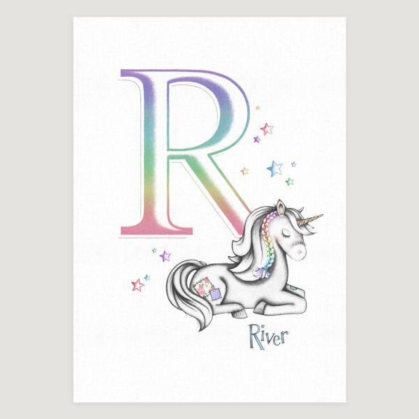 Little Unicorn Sleepy Initial Rainbow