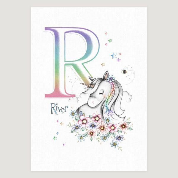 Little Unicorn and Flowers Rainbow