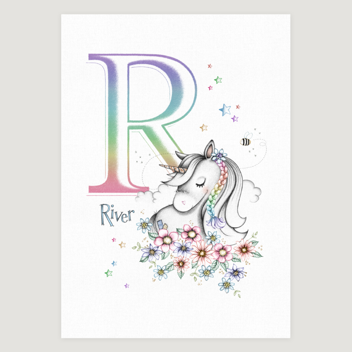 Little Unicorn and Flowers Rainbow