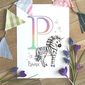 Zebra Initial Rainbow