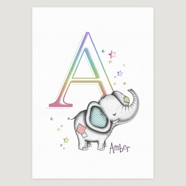 Little Elephant Initial Rainbow Girl