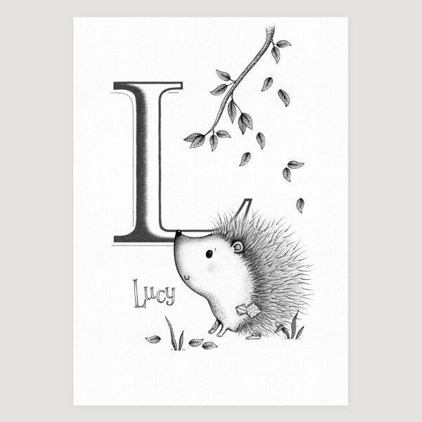 Little Hedgehog Initial Mono