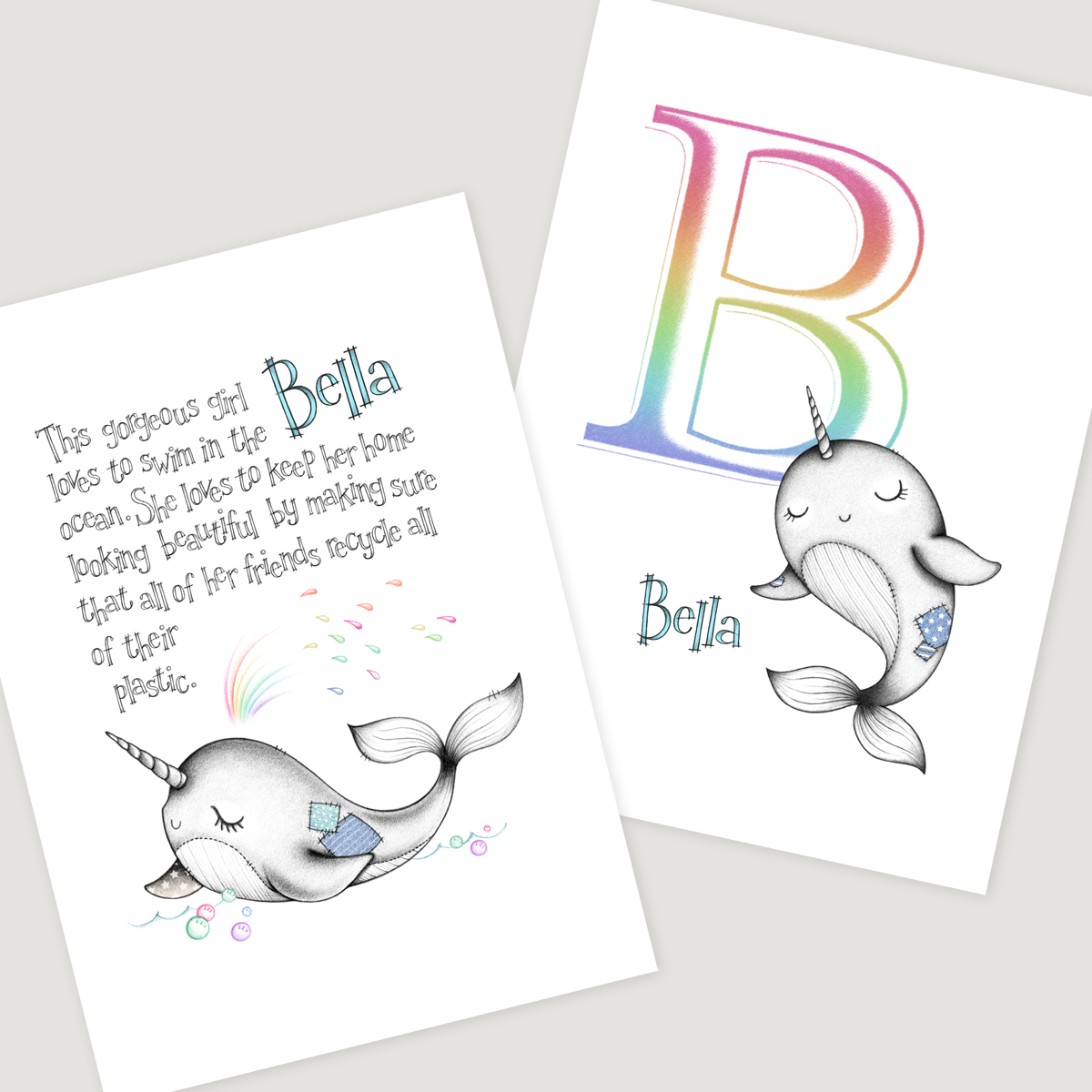 Little Narwhal 2 set Rainbow