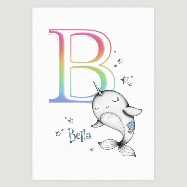 Little Narwhal initial Rainbow Girl