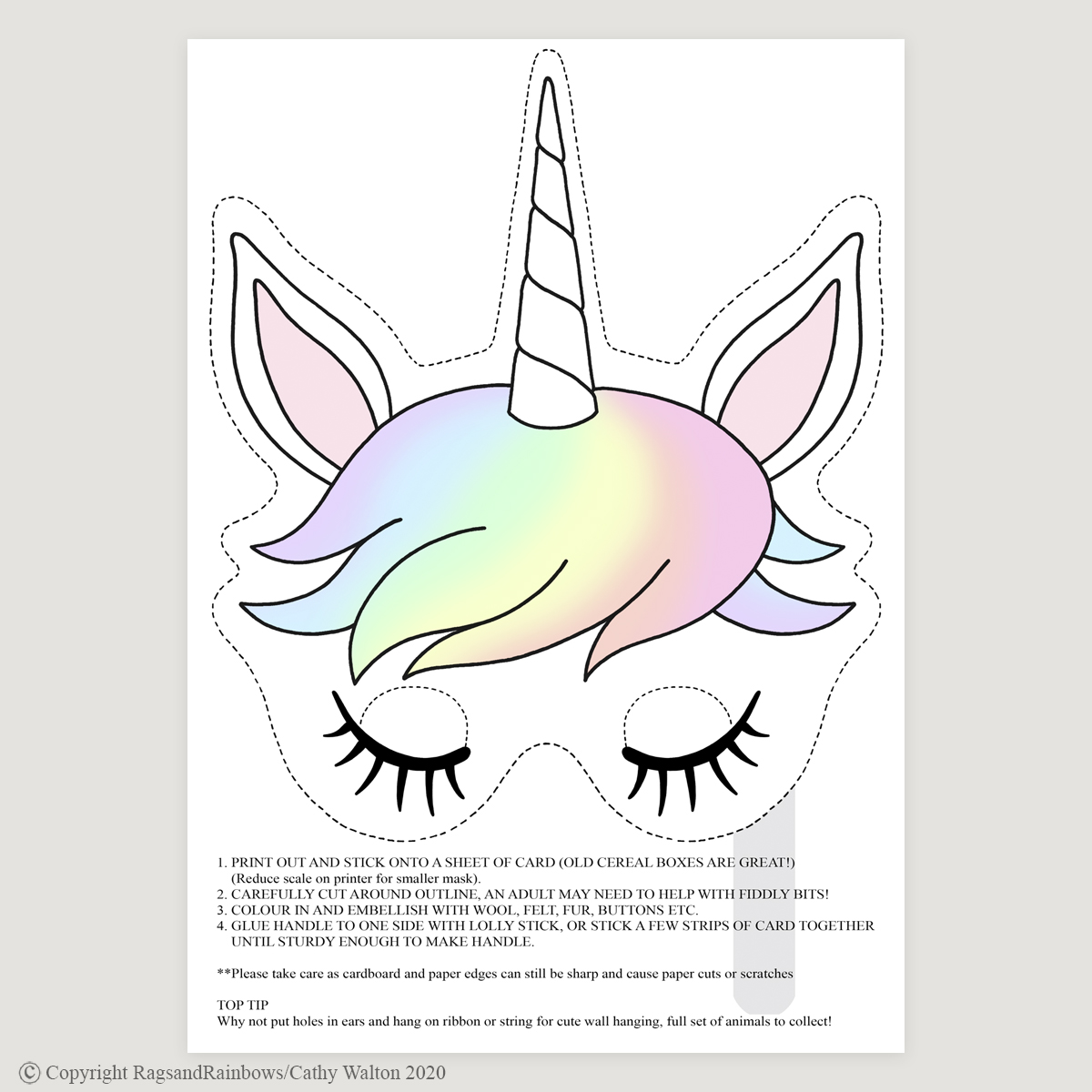 Unicorn mask rainbow