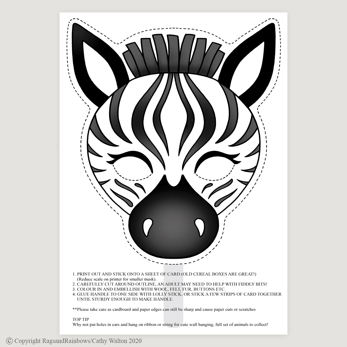 Zebra mask colour