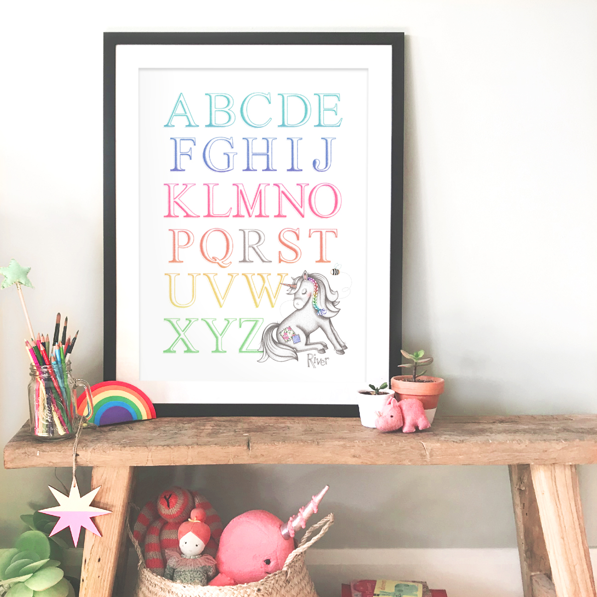 rainbow unicorn alpabet frame