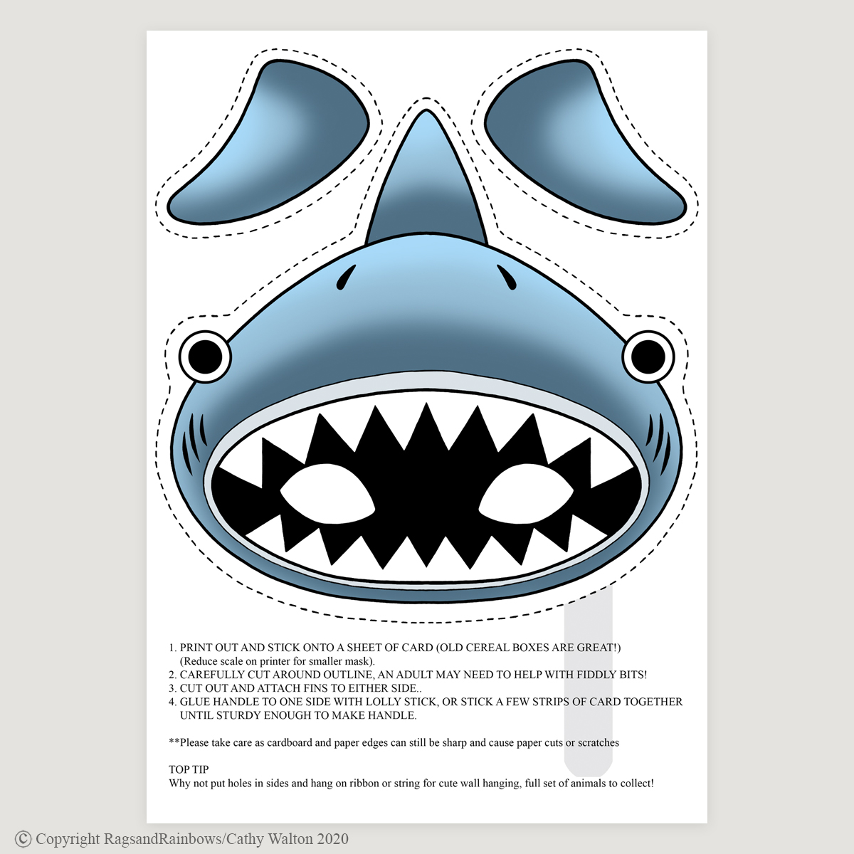shark mask colour