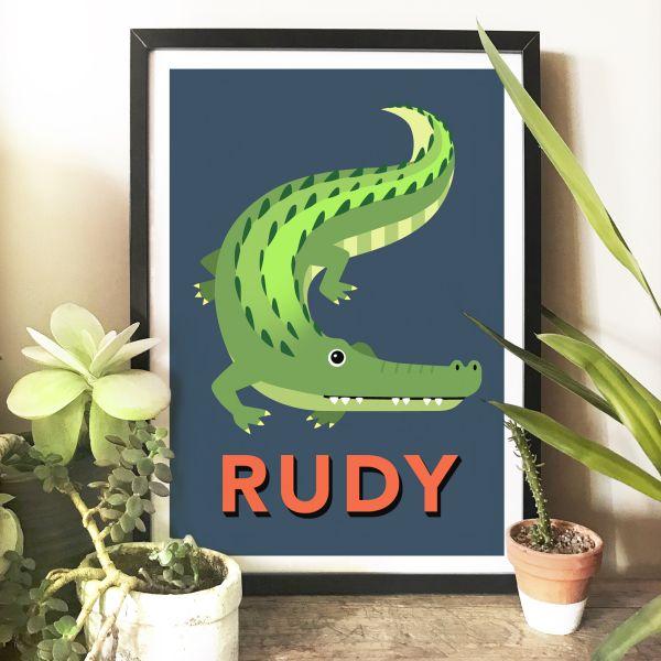 Alligator navy framed