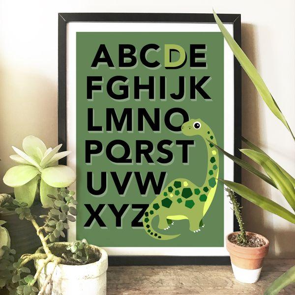 Dino alphabet frame khaki