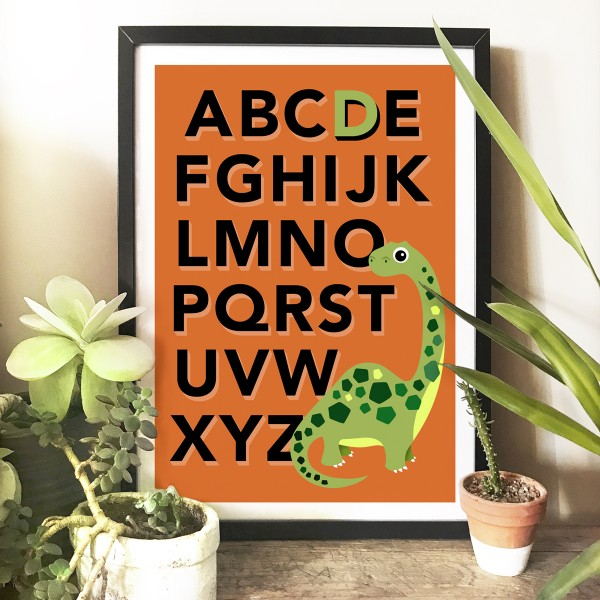 Dino alphabet frame orange