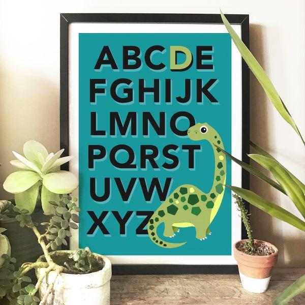Dino alphabet frame turq