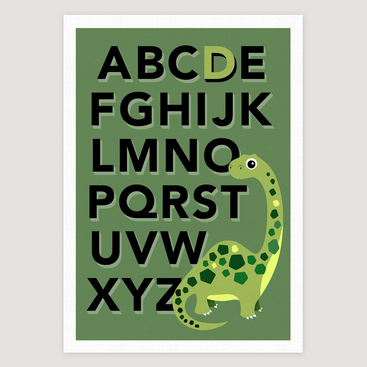 Dino alphabet khaki