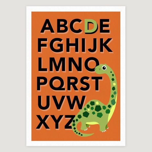 Dino alphabet orange