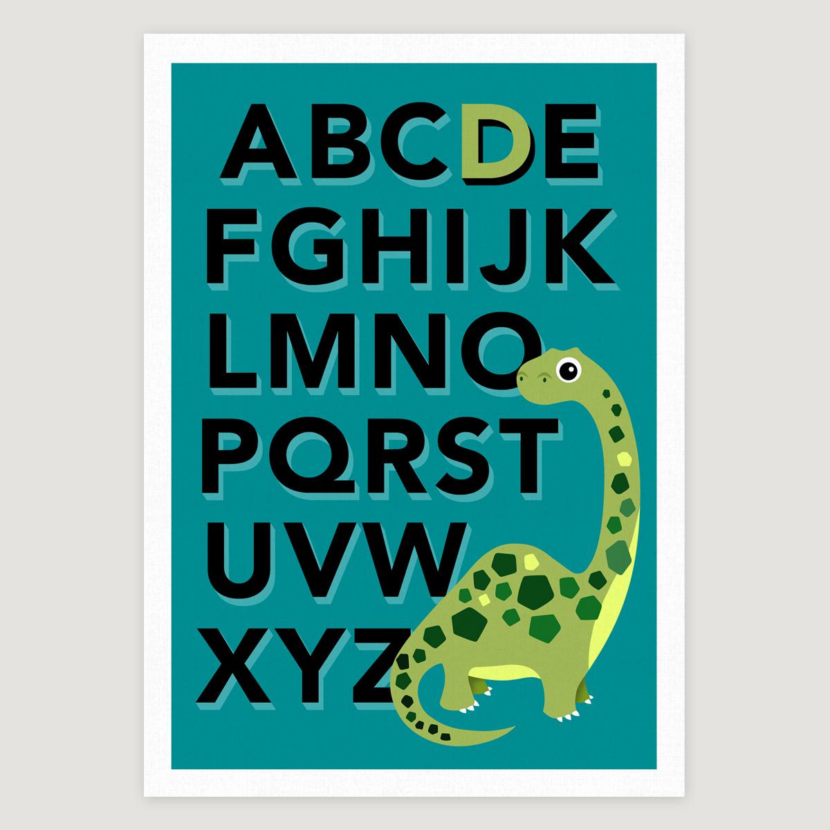 Dino alphabet turq