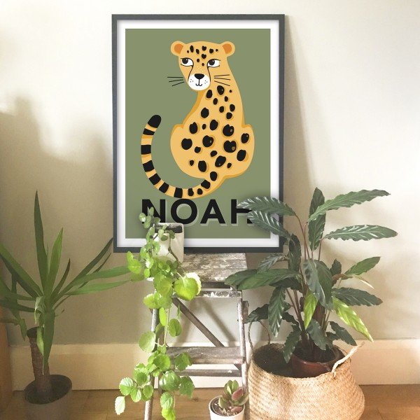 Leopard khaki lashes frame