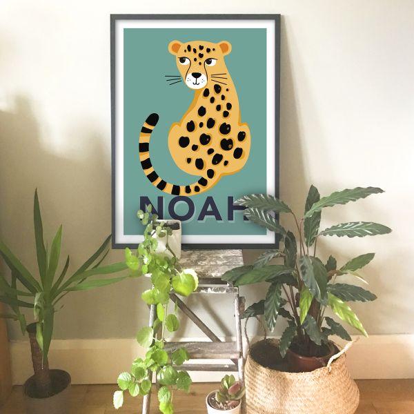 Leopard teal blue frame