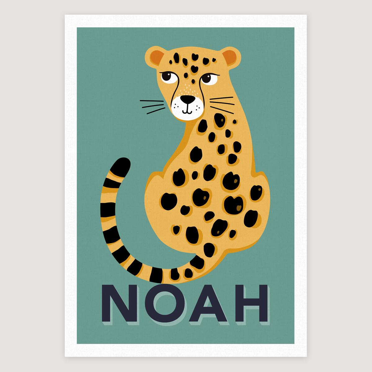 Leopard teal blue