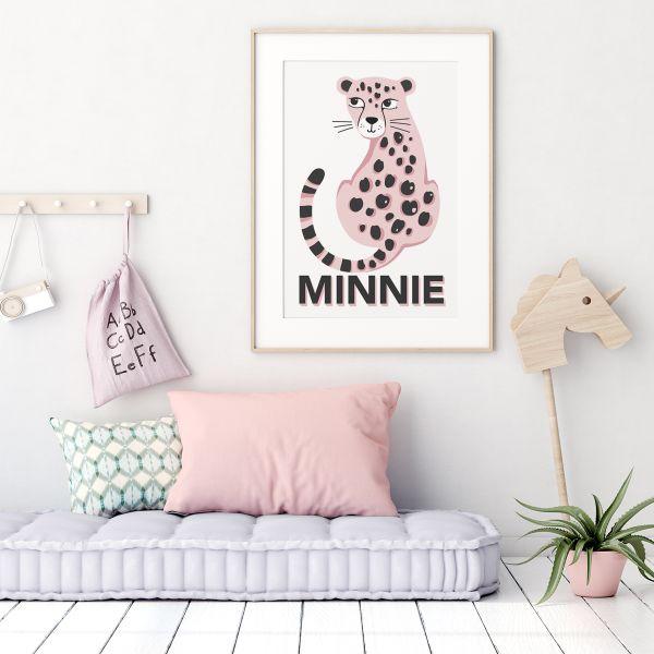 Leopard white pink framed