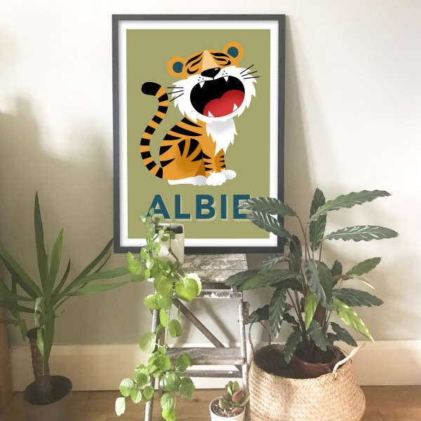 Tiger framed khaki