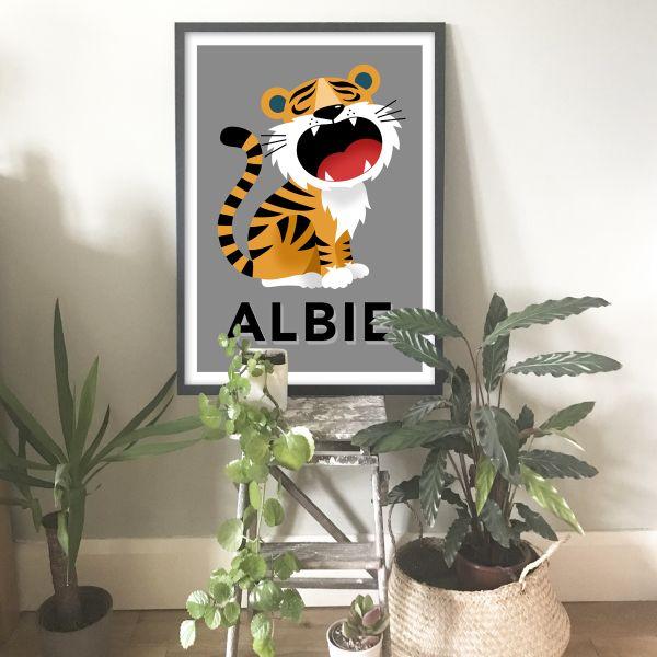 Tiger framed grey