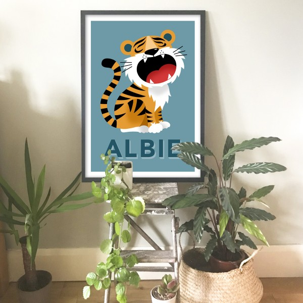 Tiger framed teal blue