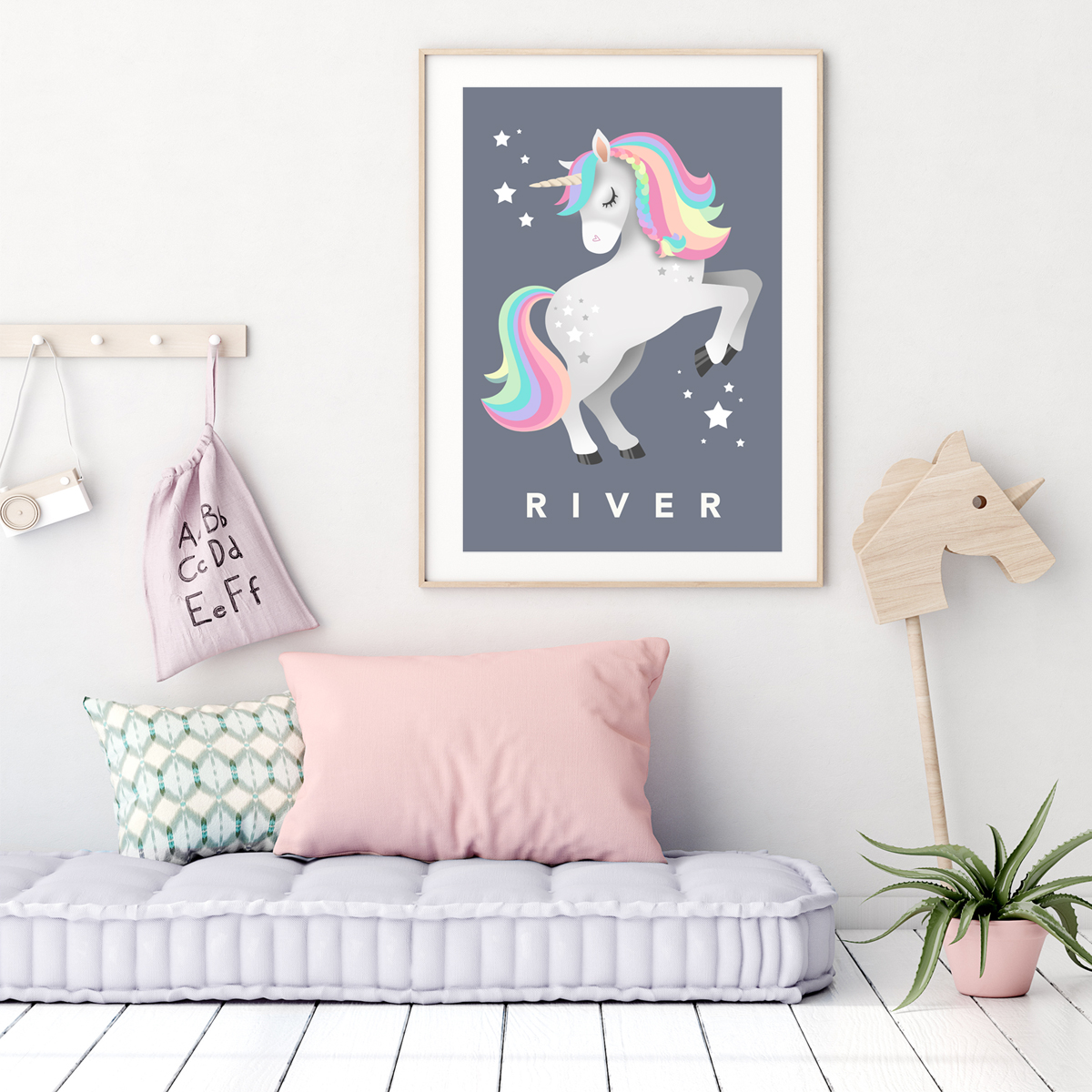 Unicorn framed charcoal