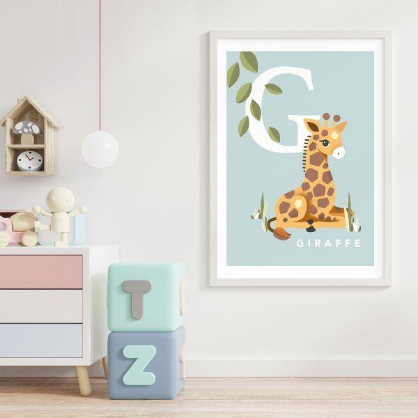 Giraffe initial baby blue framed