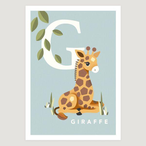 Giraffe initial soft blue