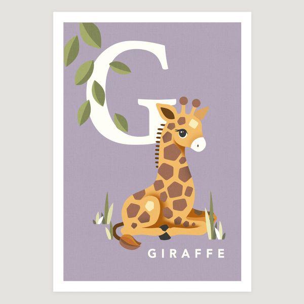 Giraffe initial soft lilac