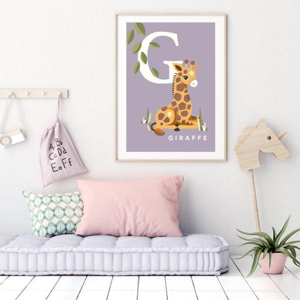 Giraffe initial soft lilac framed