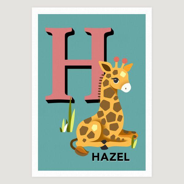 Giraffe initial teal