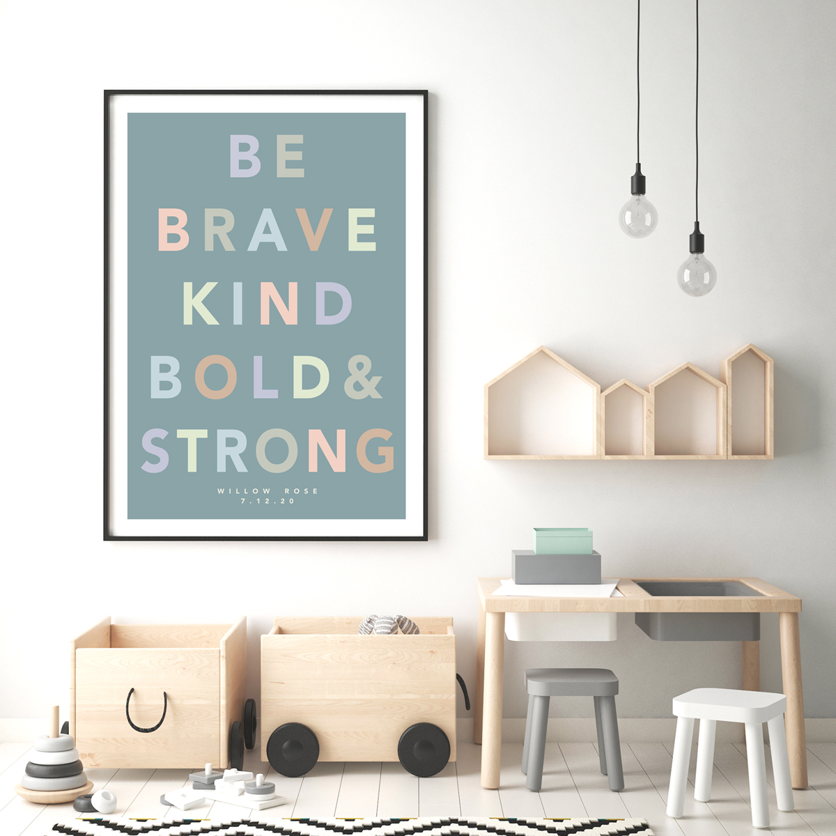 Be brave bold teal framed