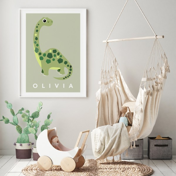 Dino pastel green framed